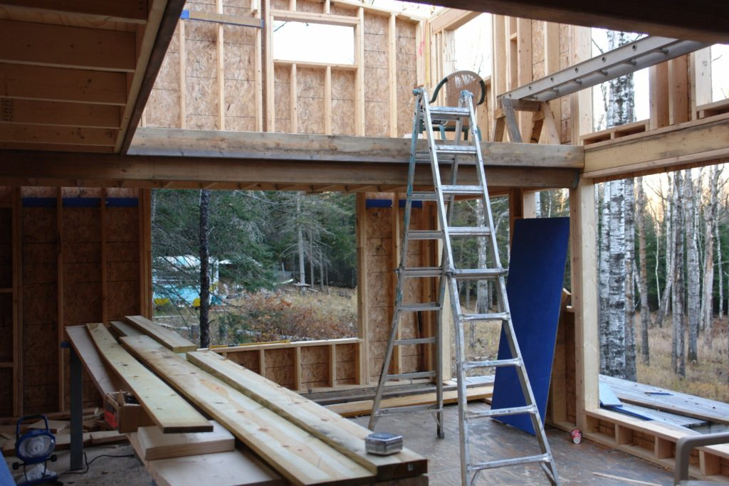 Blue House Construction framing interior