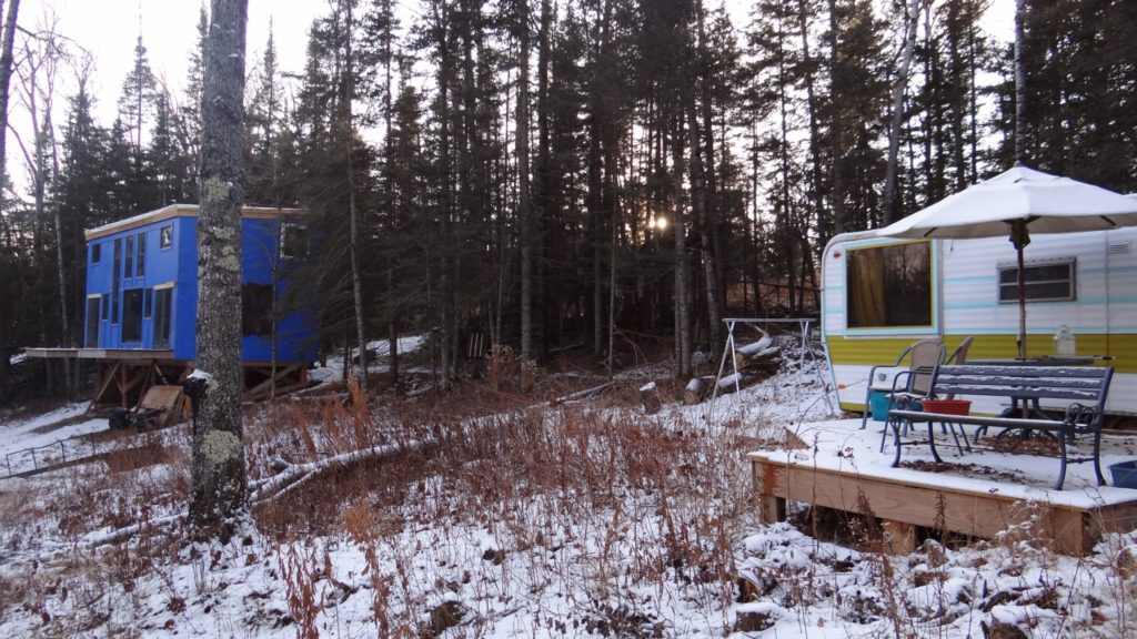 Blue House Construction outside and trailer 2