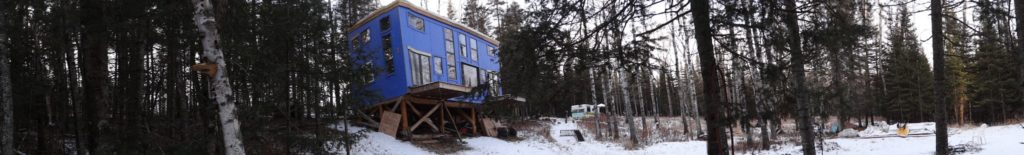 Blue House Construction outside panoramic