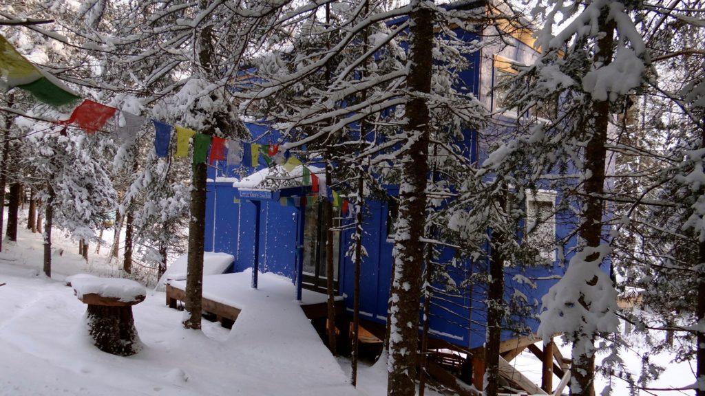 Blue House Outside winter
