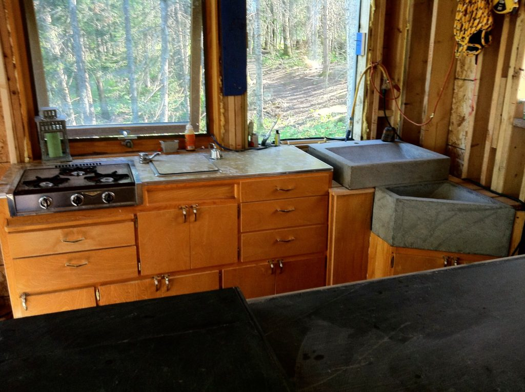 Blue House construction kitchen