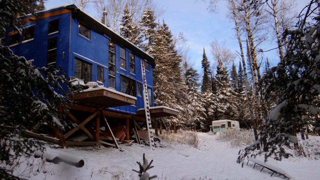 Blue House outside winter 2