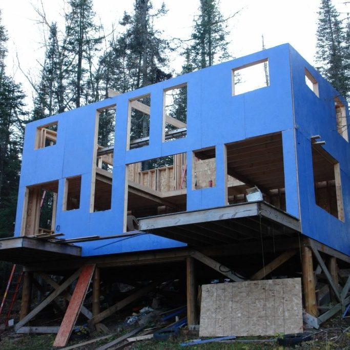 Blue House Construction framing blue